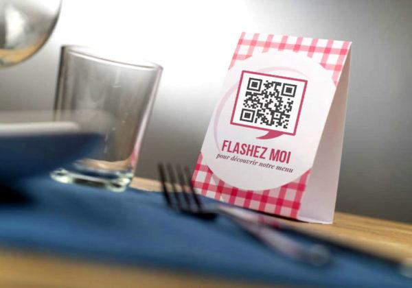 PLV Comptoir pour QR Code Restaurant