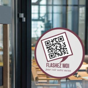 Sticker vitrine pour QR Code de Restaurant, Glacier, Bar, etc