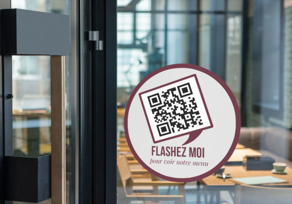 Sticker vitrine pour QR Code de Restaurant, Glacier, Bar, etc