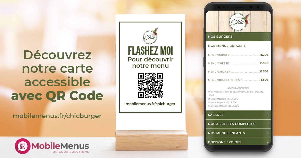 Carte restaurant Sans Contact avec QR Code